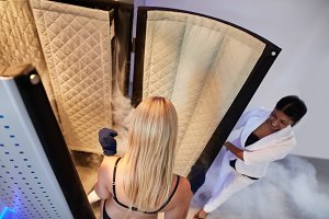 Woman entering Cryo sauna