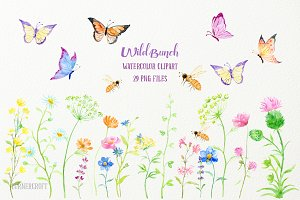 Watercolor Clipart Wild Bunch