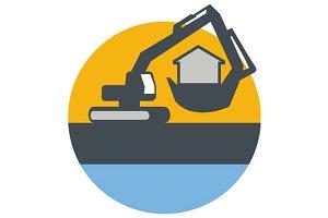 Excavator Digger Handling House