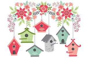 Flowers with Birdhouses
