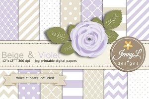 Beige & Violet Digital Paper clipart