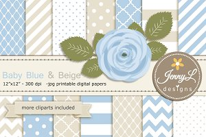 Beige & Blue Digital Paper Clipart