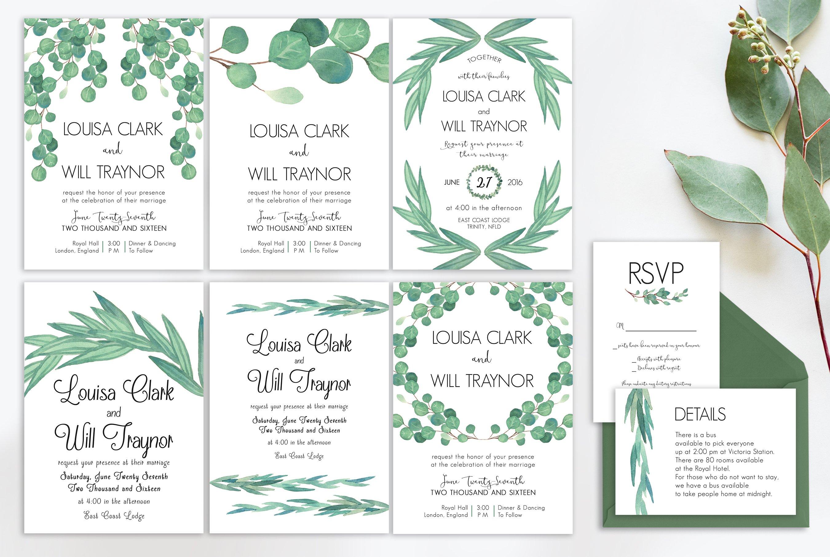 Eucalyptus Wedding Suite Vol 2 Wedding Templates