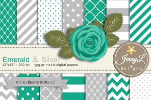 Emerald Green & Silver Digital Paper