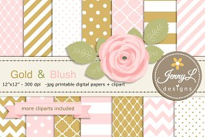 Gold and Blush Pink Digital Paper