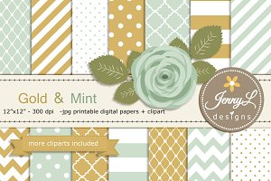 Gold & Mint Green Digital Paper