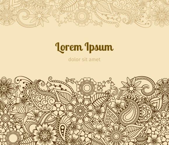 henna mehndi card template graphics creative market