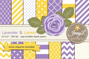 Lavender and Lemon Digital Papers