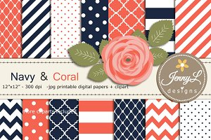 Navy Blue and Coral Digital Paper