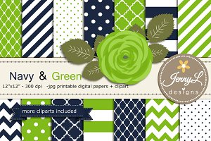 Navy and Green Digital Paper