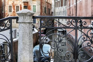 Detail of classic bridge in Venice