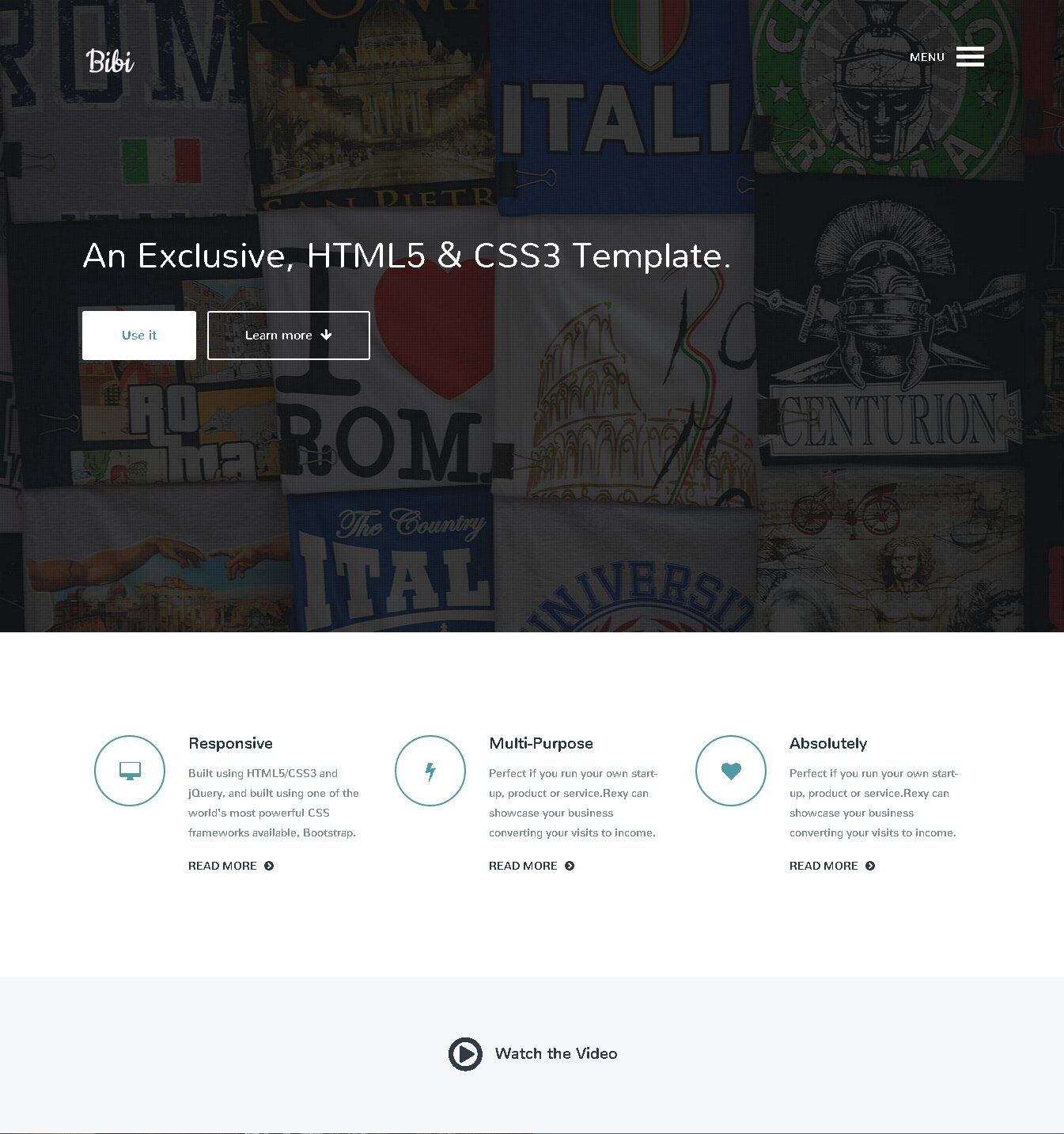 Bibi - HTML5 & CSS3 Template ~ Bootstrap Themes ~ Creative Market