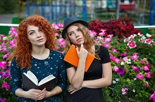 Romantic girlfriend reading book