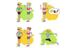 Women and fitness. Illustrations set