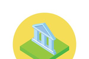 Isometric Bank Office Icon