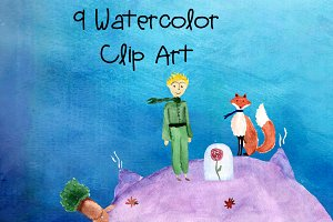 9 Watercolor Little Prince Clip Art