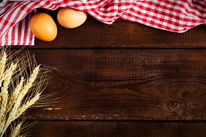 Wooden background, baking concept
