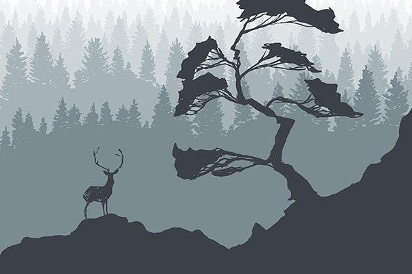 Template with pine tree and deer
