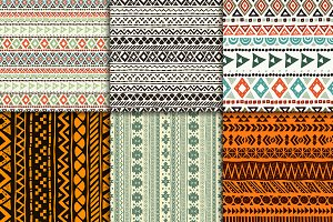 Six aztec seamless patterns