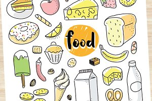 Drawn food set