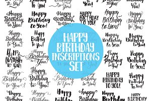 Happy birthday inscriptions set