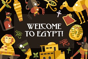 Bundle of Egypt Travel Icons & Cards