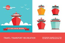 Boat icon & Summer cruise banner set