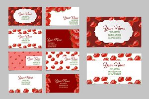 Strawberry business card set