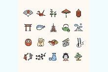 Japan Icon Color Set. Vector