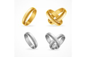 Wedding Gold and Silver Ring Set
