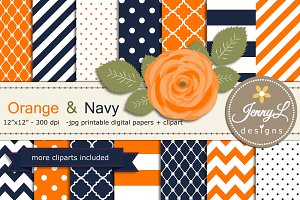 Orange and Navy Digital Papers