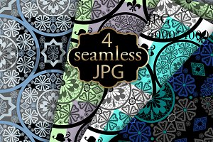 Set of 4 ornament seamless patterns.