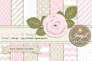 Baby Pink and Beige Digital Paper