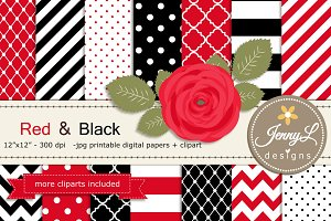 Red and Black Digital Paper