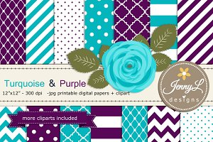 Turquoise and Purple Digital Paper