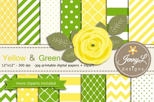 Yellow and Green Digital Paper
