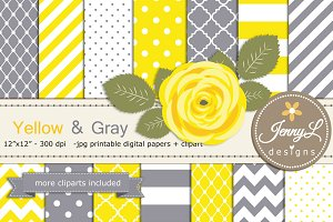 Yellow and Gray Digital Paper