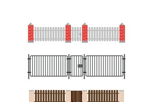 Brick fence and wood fence