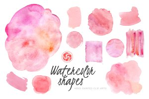 Pink Watercolor Shapes and Patches