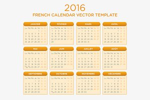 French Calendar Vector 2016