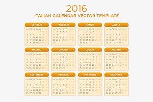 Italian Calendar Vector 2016