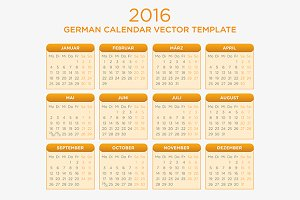 German Calendar Vector 2016