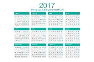 Spanish Calendar Vector 2017