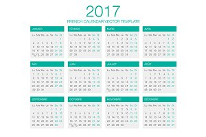 French Calendar Vector 2017