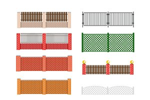 Fences set vector
