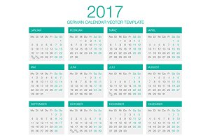 German Calendar Vector 2017