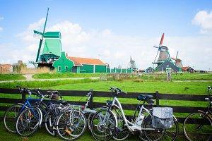 dutch windmills with bikes