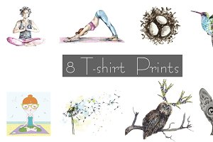 Set of watercolor and vector prints