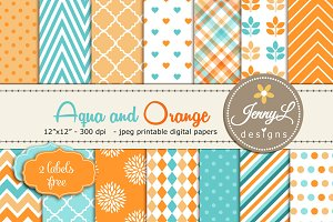 Aqua and Orange Digital Paper