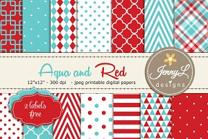 Aqua and Red Digital Paper